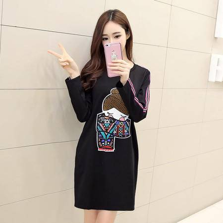 JEANE-SUNP2016灰色圆领黑色通勤短裙春装新品日式卡通娃娃休闲针织棉连衣裙