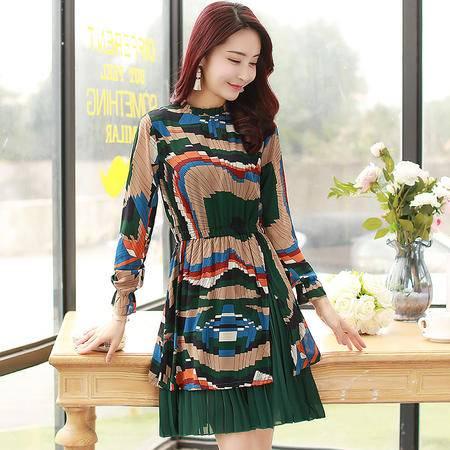 JEANE-SUNP2016春季新款韩版修身显瘦气质碎花雪纺连衣裙中长款春装印花裙子