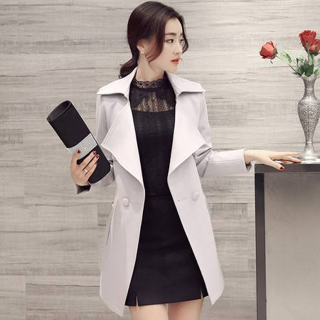 JEANE-SUNP2016欧美春秋女式外套风衣女中长款 英伦修身大码风衣双排扣上衣