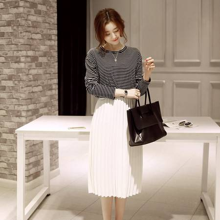 JEANE-SUNP2016新款女装半身裙中长款A字裙松紧腰百褶裙百搭雪纺中裙