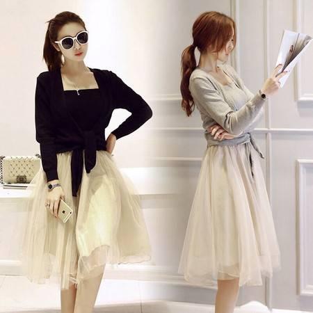 JEANE-SUNP2016春装新款网纱连衣裙女中长款韩版针织衫拼接两件套套装淑女仙