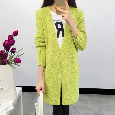 JEANE-SUNP2016春装新款韩版灰色绿色蓝色粉色针织衫毛衣开衫女式中长款修身