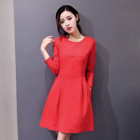 JEANE-SUNP2016春季新款韩版时尚圆领连衣裙女修身收腰打底裙女纯色中裙潮
