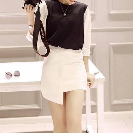 JEANE-SUNP2016春款韩版女装百搭不规则 黑白双色 小短裙半身裙