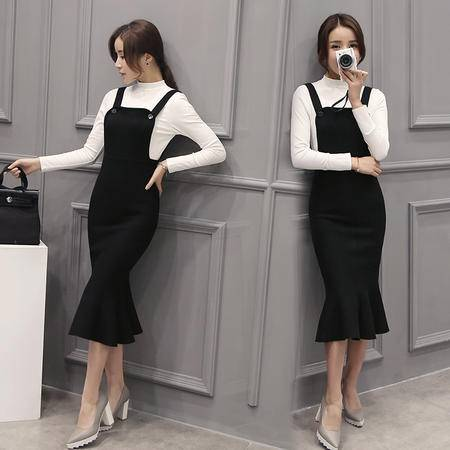 JEANE-SUNP2016新款修身显瘦中长款背带包臀鱼尾连衣裙套装裙两件套女