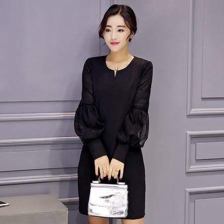 JEANE-SUNP2016春装新款韩版时尚连衣裙修身拼接灯笼袖中长款蕾丝大码A字裙