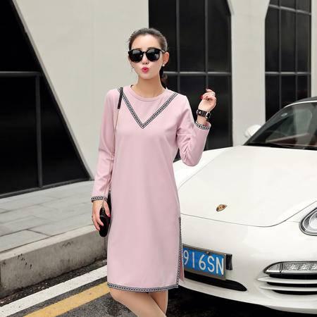JEANE-SUNP2016春装新款欧版运动休闲时尚长袖连衣裙修身显瘦春秋开叉长裙女
