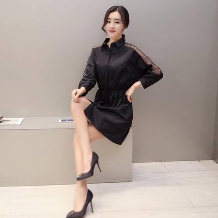 JEANE-SUNP2016春装修身中长款薄款风衣女装韩版时尚收腰镶钻九分袖外套潮