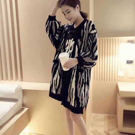 JEANE-SUNP2016新款春装中长款时尚休闲斑马纹针织连衣裙外套