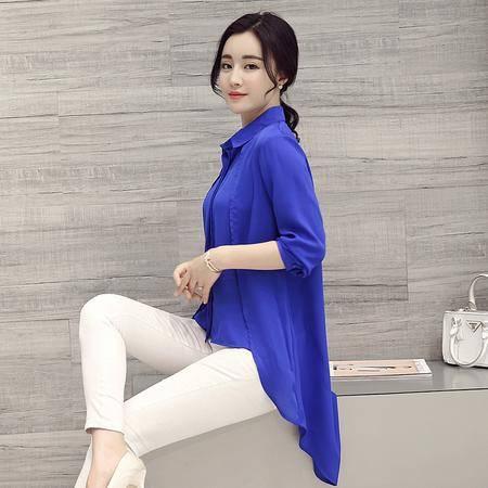 JEANE-SUNP2016新款春装韩版中长款不规则下摆衬衫纯色半开领时尚休闲女
