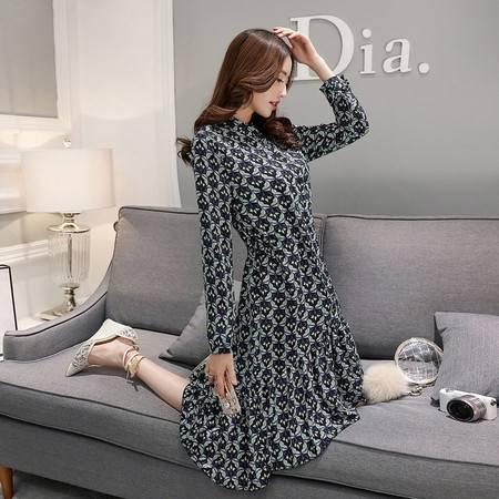 JEANE-SUNP2016新款韩版中长款连衣裙女松紧腰大码显瘦个性印花时尚打底衫潮