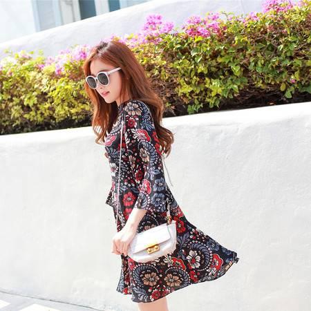 JEANE-SUNP2016春夏新款女装韩版甜美圆领中长款连衣裙印花七分喇叭袖公主裙