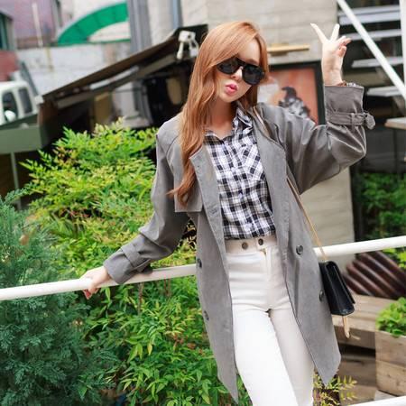 JEANE-SUNP2016春装新款韩版双排扣风衣女装 修身显瘦系带纯色中长款外套潮