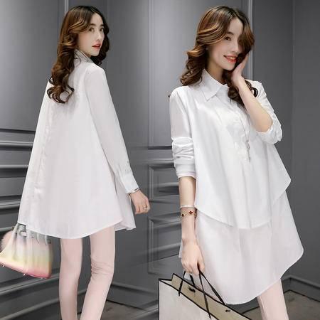 JEANE-SUNP2016春季新款韩国韩版宽松休闲白色长袖衫OL百搭翻领衬衣上衣女