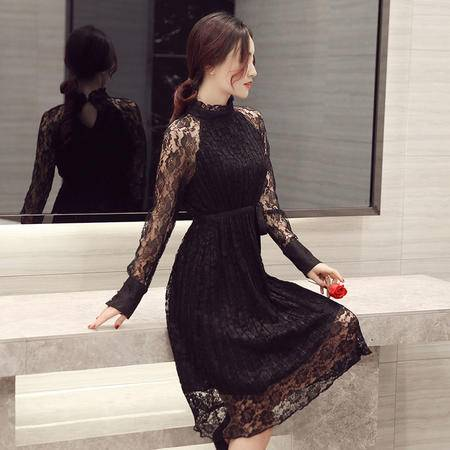 JEANE-SUNP2016春夏秋中长款淑女长袖修身韩版蕾丝镂空系带 蕾丝裙