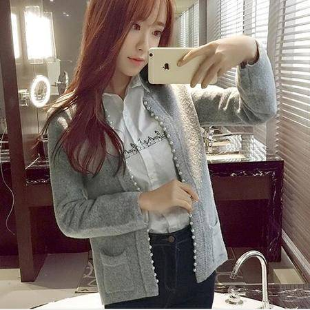 JEANE-SUNP2016新款春装时尚韩版中长款针织毛衣开衫