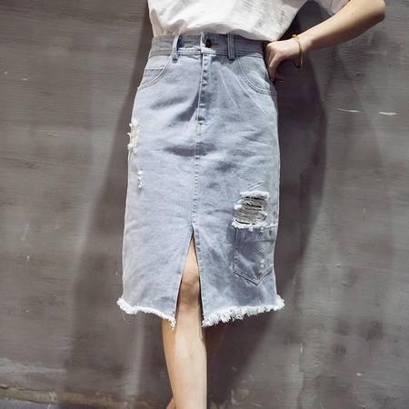 JEANE-SUNP2016夏季新款韩版修身中腰休闲百搭性感包臀A字裙半身裙女牛仔裙