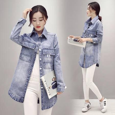 JEANE-SUNP2016春季新款韩版牛仔外套女中长款修身时尚百搭瘦身衬衫牛仔外套
