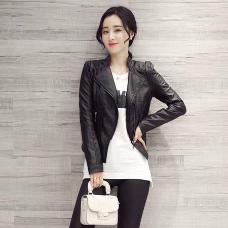 JEANE-SUNP2016春秋新款韩版短装修身皮衣机车小外套立领时尚短款PU皮夹克女