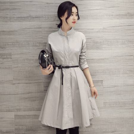 JEANE-SUNP2016春夏季韩版显瘦大摆长袖时尚收腰休闲中长款风衣衬衫连衣裙女