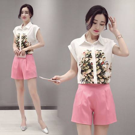 JEANE-SUNP2016夏装新款女韩范时尚名媛印花衬衫两件套装短袖雪纺衫短裤2件