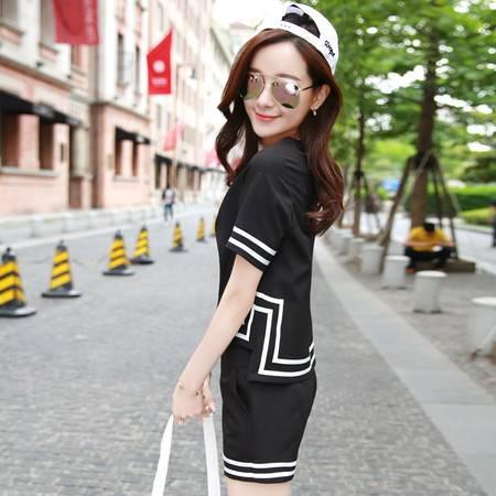 JEANE-SUNP2016夏季韩版纯色时尚显瘦短裤套装短袖上衣两件套T恤女潮