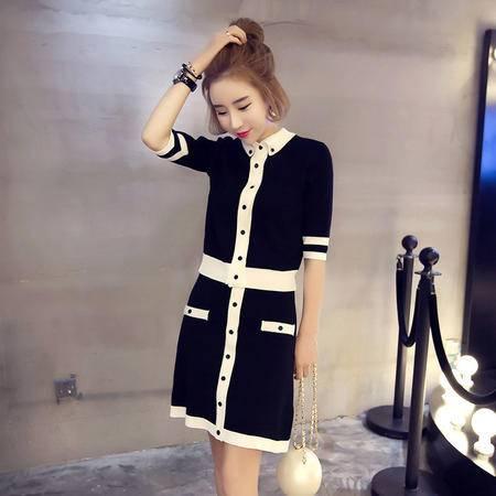JEANE-SUNP2016潮流新款夏季女装翻领韩版拼接单排扣显瘦两件套女