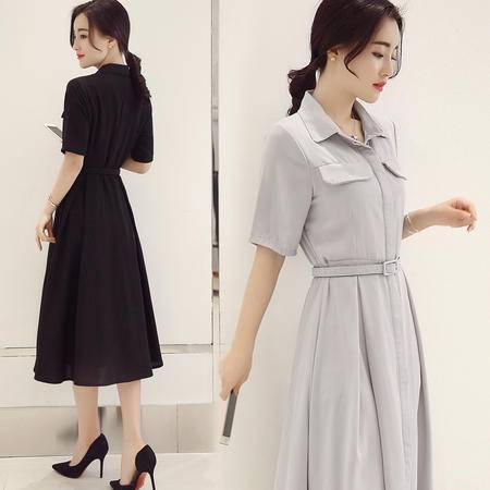 JEANE-SUNP2016新款连衣裙夏季中长款修身显瘦A字裙衬衫领韩版长款气质裙子