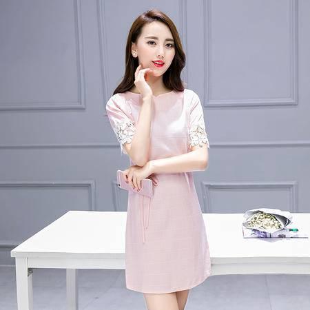 JEANE-SUNP2016夏季新款韩版圆领中长款亚麻纯色T恤短袖上衣女大码连衣裙潮