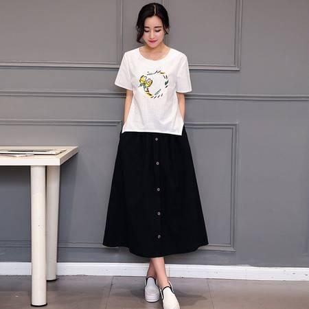 JEANE-SUNP2016年夏季韩版时尚印花纽扣短袖纯色圆领两件套裙装