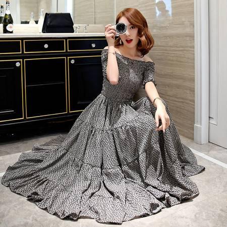 JEANE-SUNP2016夏季新款圆领碎花短袖潮流韩版修身显瘦中长款一字领连衣裙晚礼服