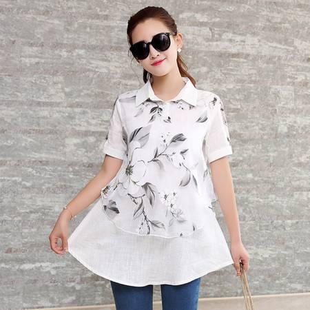 JEANE-SUNP2016夏季新款短袖衬衫女亚麻舒适棉麻韩版修身显瘦时尚休闲简约潮