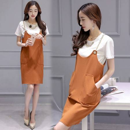 JEANE-SUNP2016夏装新品精致胸花纯白短袖韩版时尚大口袋链条背带裙两件套女