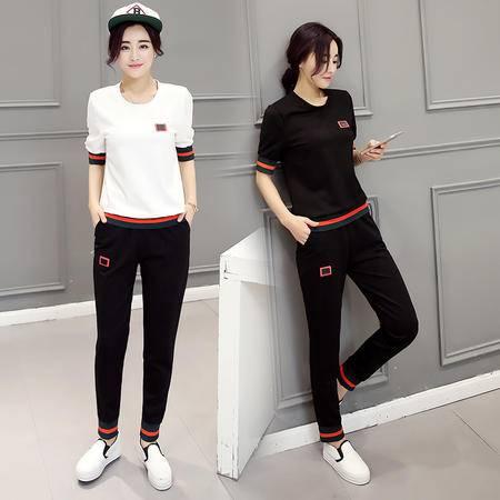 JEANE-SUNP2016年夏季两件套包袖修身圆领时尚百搭T恤+松紧腰纯色条纹长款小脚裤