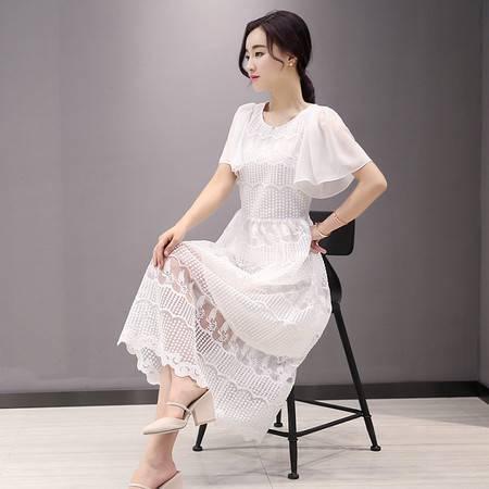 JEANE-SUNP2016夏季新款喇叭袖短袖优雅透视钩花镂空蕾丝连衣裙长裙