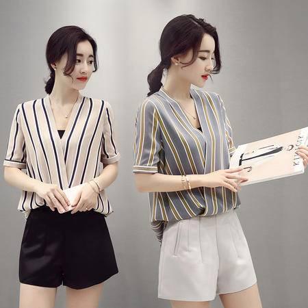 JEANE-SUNP2016夏季新款时尚套装韩版名媛条纹雪纺衫休闲热裤短裤两件套