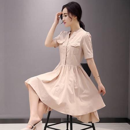 JEANE-SUNP夏季韩版新款2016短袖衬衫雪纺连衣裙两件套装收腰修身显瘦中长款