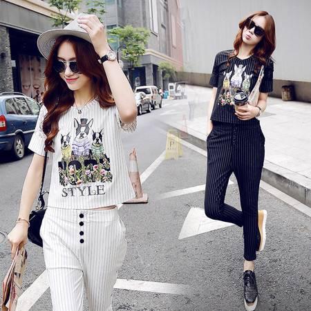 JEANE-SUNP圆领短袖2016年夏季新款潮流韩版条纹九分裤时尚百搭两件套
