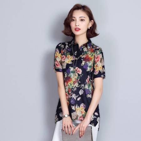 JEANE-SUNP2016夏季新款印花时尚复古女衬衫透气宽松套头POLO领花色女士时尚常规短袖