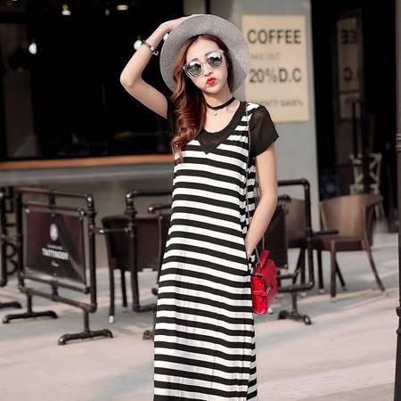 JEANE-SUNP2016春季新款新款五分袖韩版雪纺女春季韩版大码显瘦印花裙连衣裙