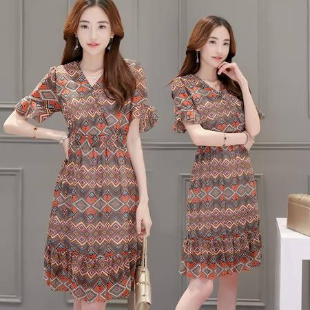 JEANE-SUNP2016年夏季新款潮流韩版V领短袖修身显瘦中长款印花连衣裙