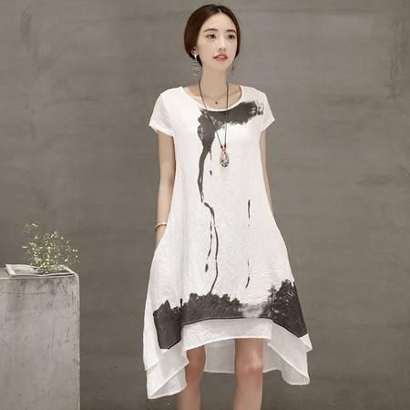 JEANE-SUNP2016夏装新款外贸原单棉麻连衣裙大码印花不规则裙中长款裙子