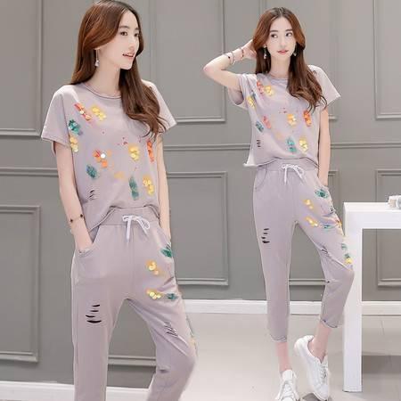 JEANE-SUNP2016年夏季新款潮流韩版印花圆领修身显瘦短袖T恤印花九分裤两件套