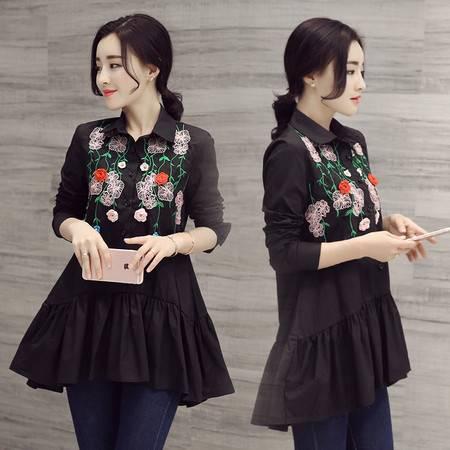 JEANE-SUNP2016春夏新款韩版时尚刺绣职场OL翻领长袖气质中长款衬衫上衣女