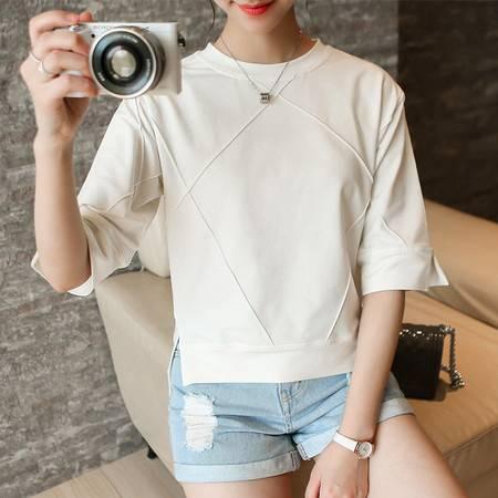 JEANE-SUNP2016新款IT代购夏装简约气质个性开叉纯色圆领中袖百搭T恤女
