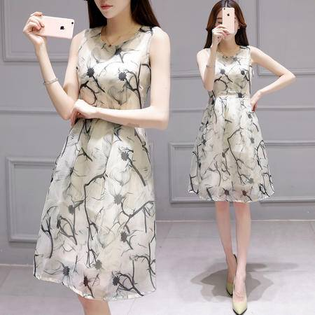 JEANE-SUNP2016夏季新款女装 韩版气质时尚修身显瘦中长款背心裙印花连衣裙