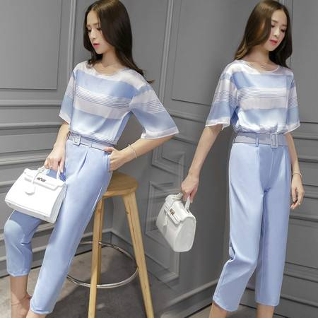 JEANE-SUNP2016夏装新款韩版女装两件套条纹上衣阔腿裤休闲时尚套装夏九分裤