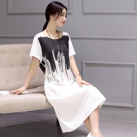 JEANE-SUNP2016夏季新款女装棉麻水墨印花连衣裙韩版宽松中长款短袖体恤裙子