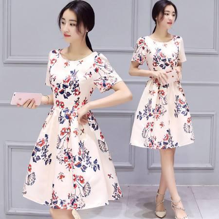 JEANE-SUNP2016夏装新款韩版女装蓬蓬A字裙子中长短袖修身印花连衣裙女潮