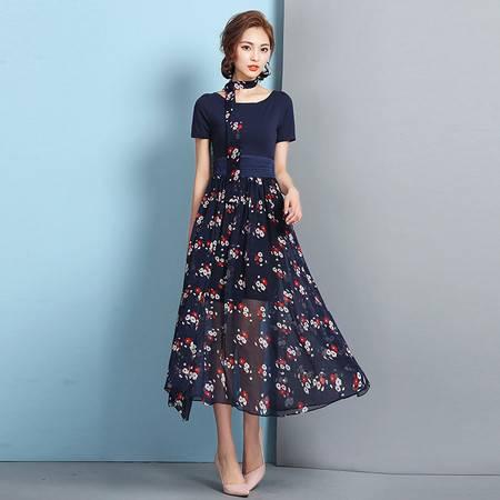 JEANE-SUNP2016夏新款短袖针织拼接雪纺碎花高腰修身优雅长裙连衣裙配领带